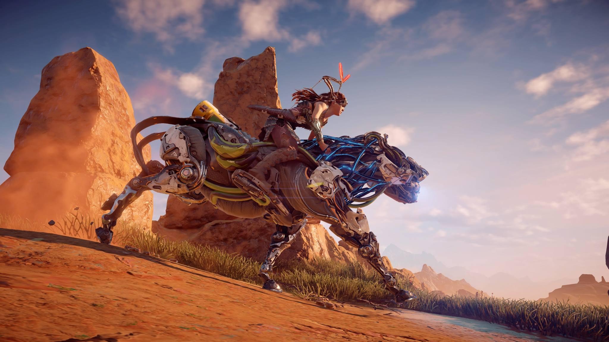 Aloy riding a Strider: robo-horse.