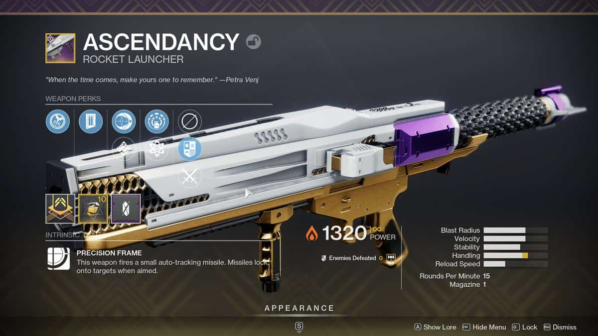 Ascendancy - Rocket Launcher Destiny 2 Season Of The Lost Weapons
