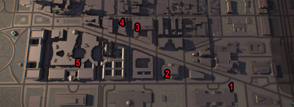 Division 2 Federal Triangle SHD Tech Caches Locations Map