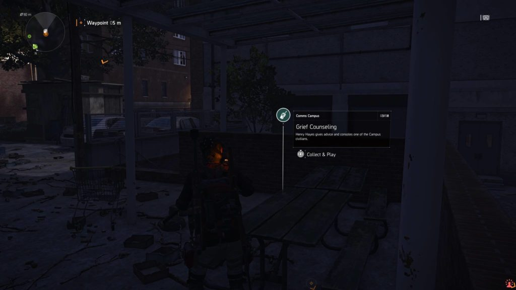 Division 2 Grief Counseling Campus Comm Collectible Location