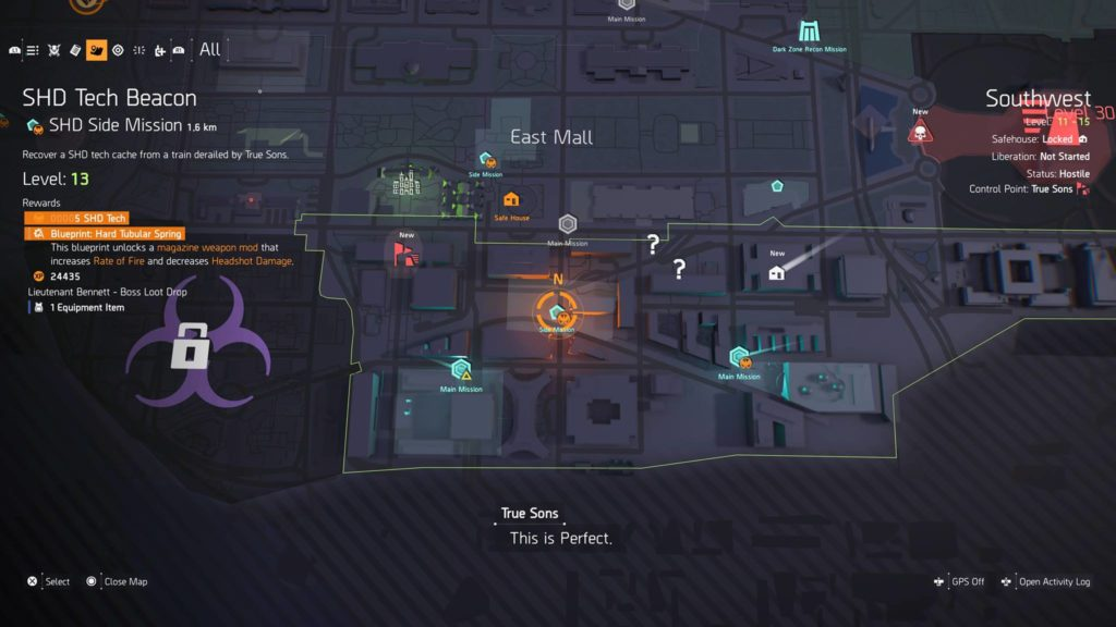 The Division 2 SHD Side Mission