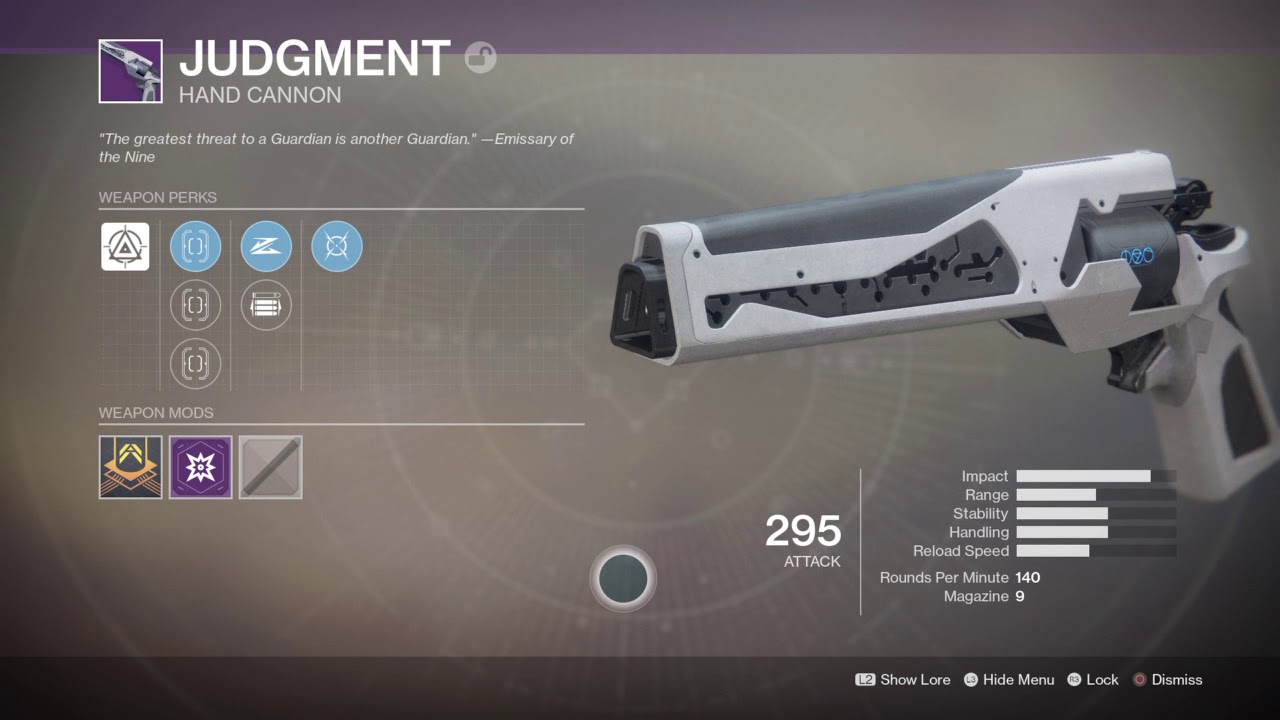 Judgement - Hand Cannon Destiny 2 Season Of The Lost Weapons
