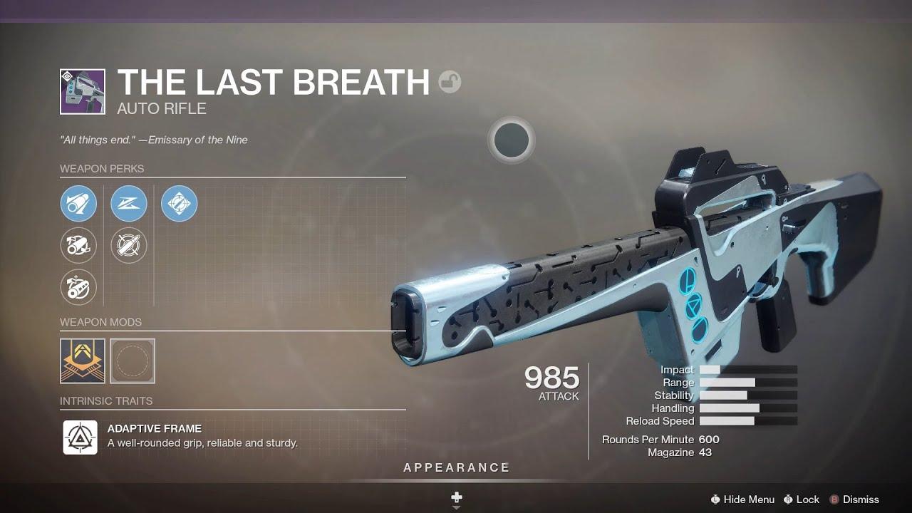 The Last Breath - Auto Rifle Destiny 2 Season Of The Lost Weapons