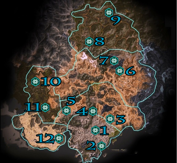 RAGE 2 Arks Locations Map