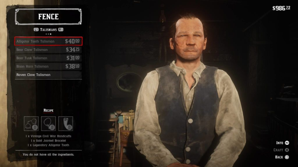 Red Dead Redemption 2 Alligator Tooth Talisman Crafting Guide