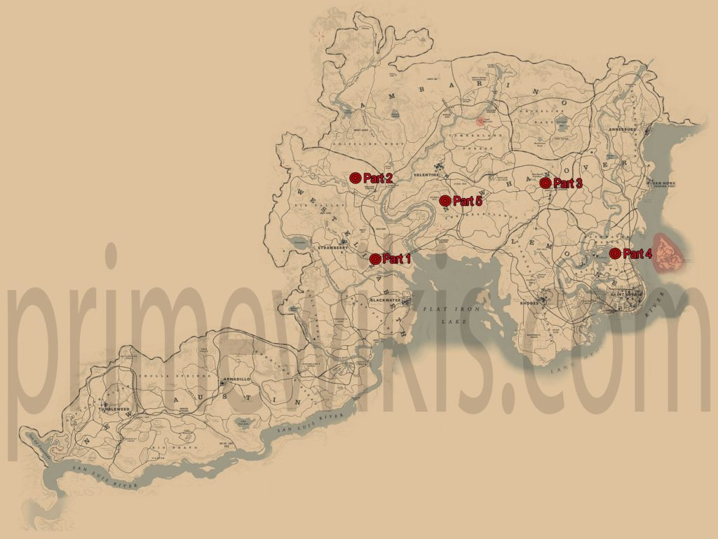 RDR2 Arcadia for Amateurs Locations Map