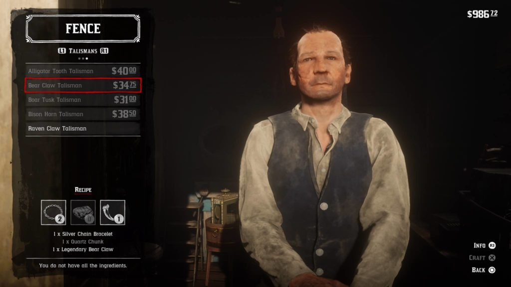 Red Dead Redemption 2 Bear Claw Talisman Crafting Guide