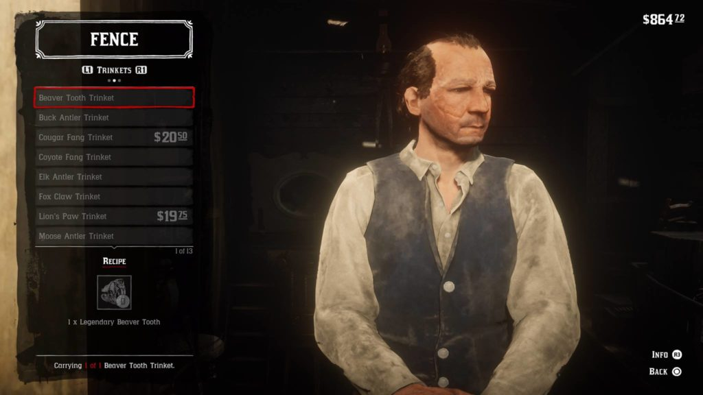 Red Dead Redemption 2 Beaver Tooth Trinket Crafting Guide