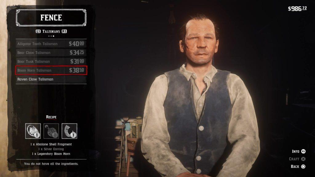 Red Dead Redemption 2 Bison Horn Talisman Crafting Guide