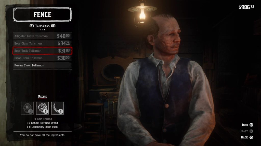 Red Dead Redemption 2 Boar Tusk Talisman Crafting Guide