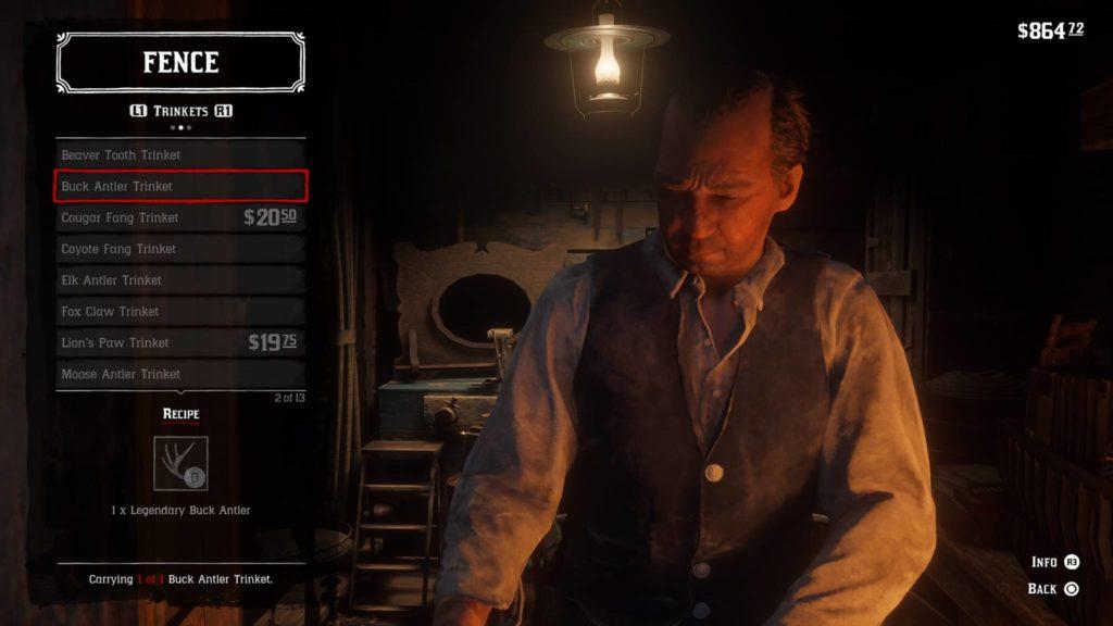 Red Dead Redemption 2 Buck Antler Trinket Crafting Guide