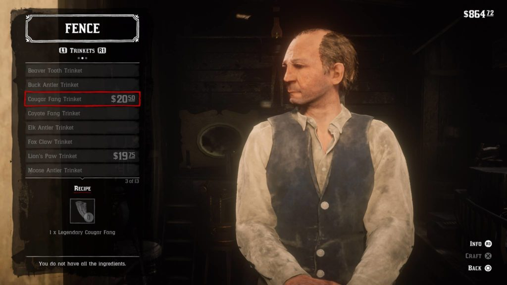 Red Dead Redemption 2 Cougar Fang Trinket Crafting Guide