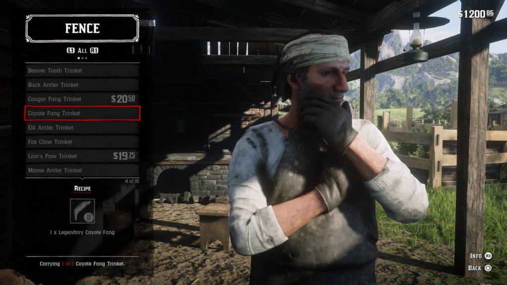 Red Dead Redemption 2 Coyote Fang Trinket Crafting Guide