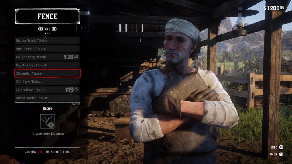 Red Dead Redemption 2 Elk Antler Trinket Crafting Guide
