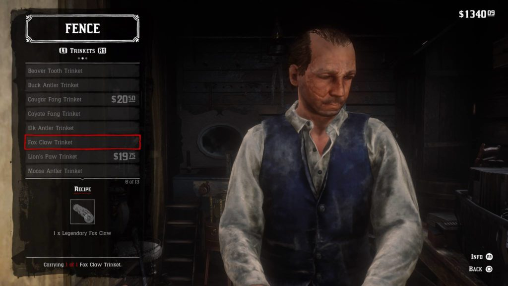 Red Dead Redemption 2 Fox Claw Trinket Crafting Guide