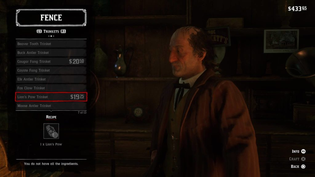Red Dead Redemption 2 Lion's Paw Trinket Crafting Guide