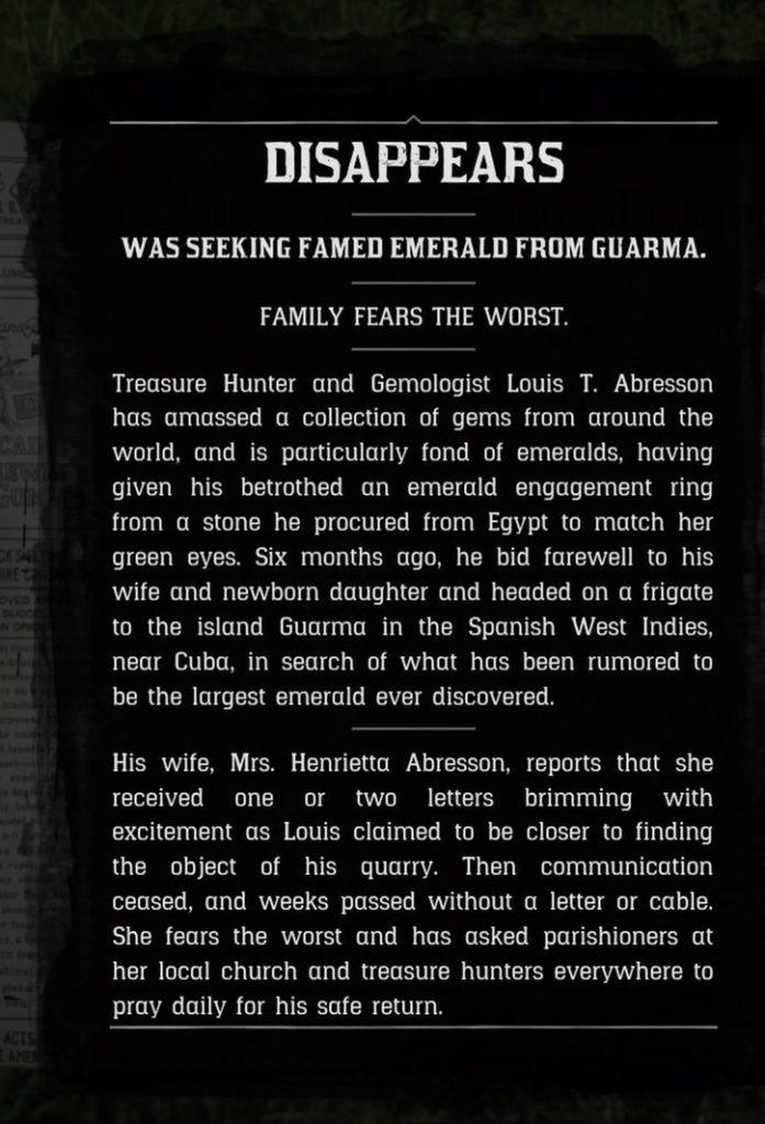 Red Dead Redemption 2 Missing Gemologist Newspaper Article