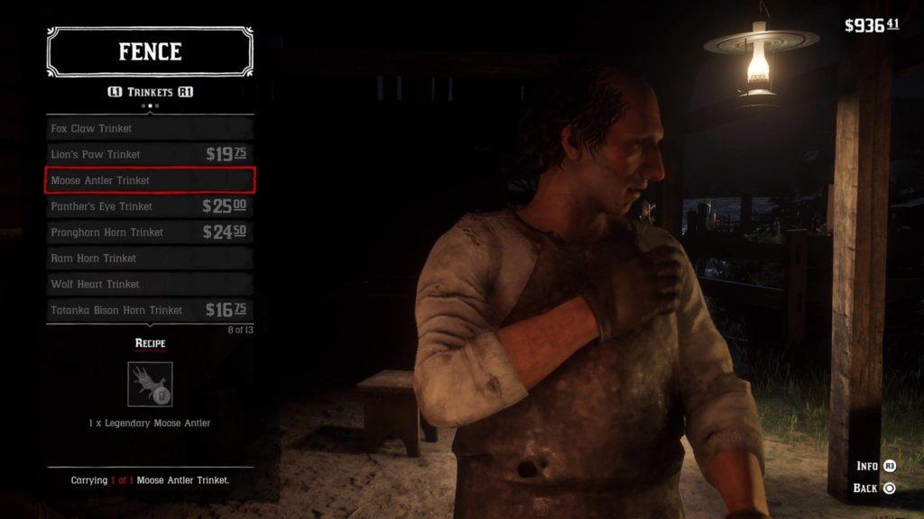 Red Dead Redemption 2 Moose Antler Trinket Crafting Guide