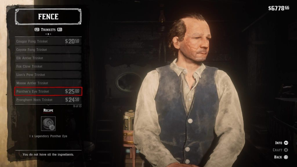 Red Dead Redemption 2 Panther's Eye Trinket Crafting Guide