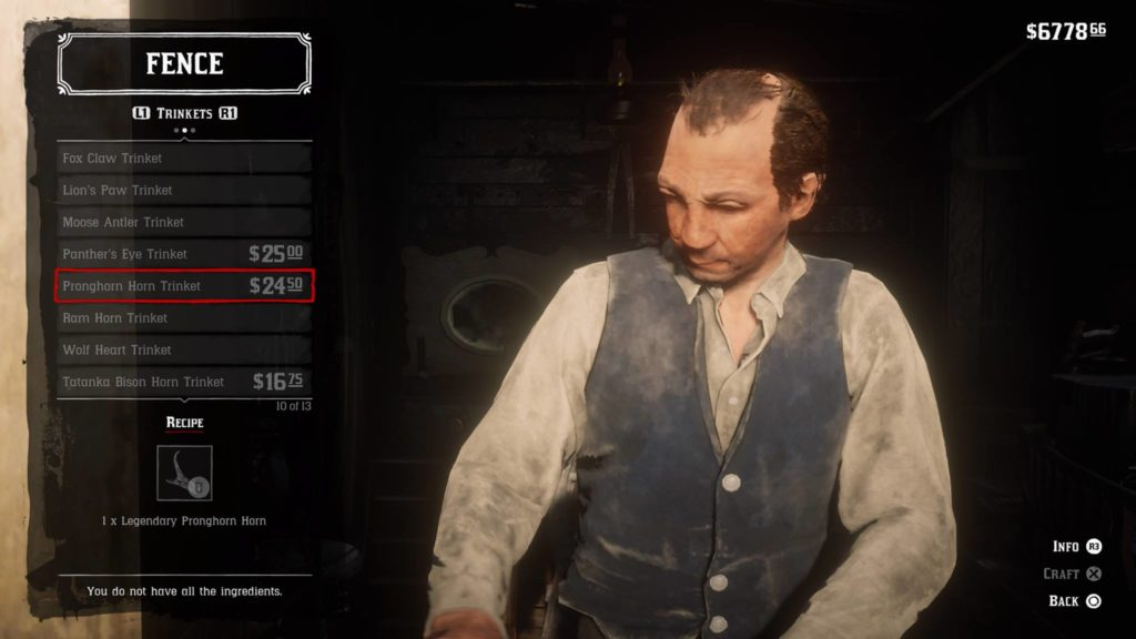 Red Dead Redemption 2 Pronghorn Horn Trinket Crafting Guide
