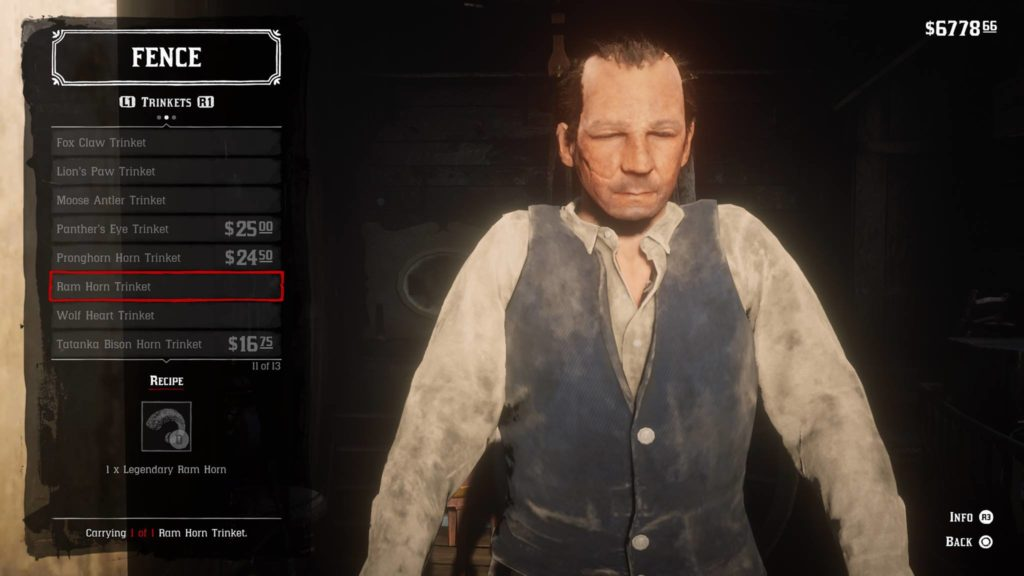 Red Dead Redemption 2 Ram Horn Trinket Crafting Guide