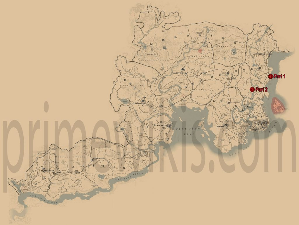 RDR2 Smell of the Grease Paint Locations Map