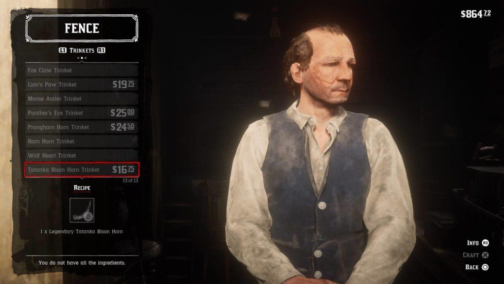 Red Dead Redemption 2 Tatanka Bison Horn Trinket Crafting Guide