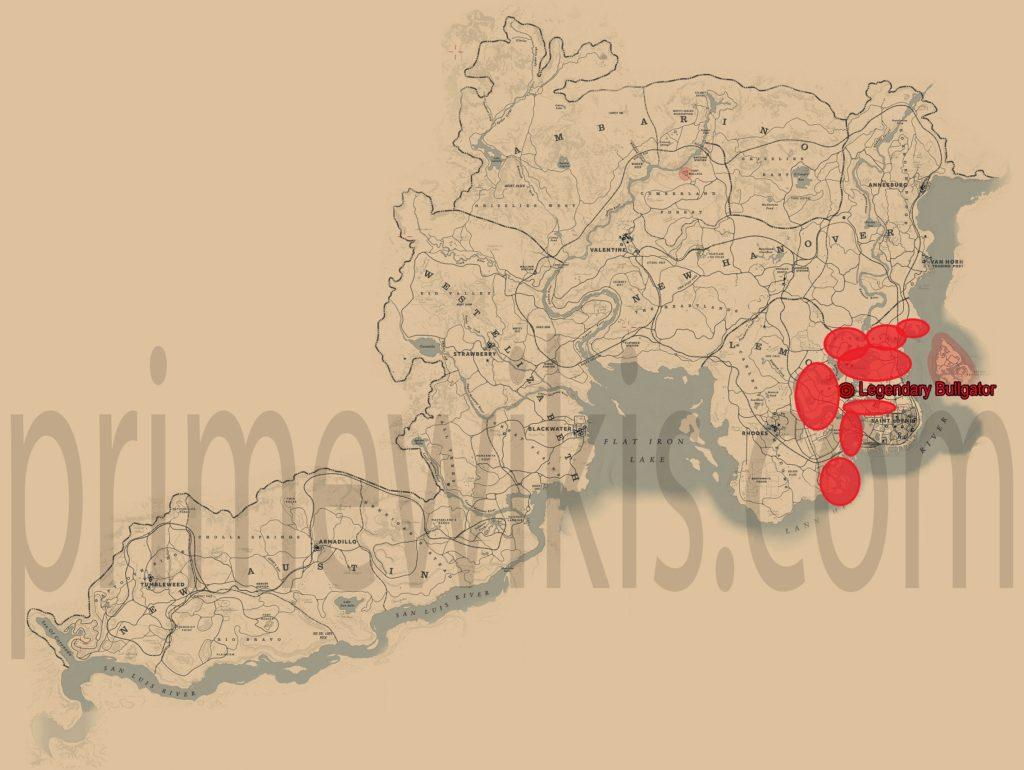 RDR2 American Alligator Location Map
