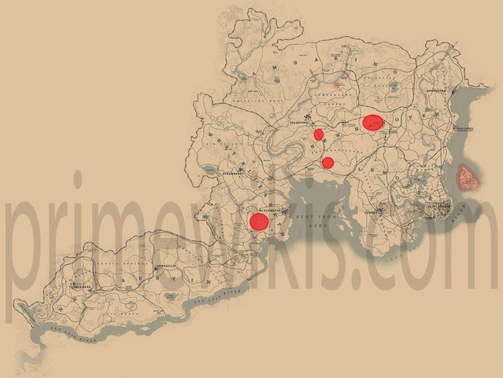 RDR2 American Buffalo Location Map