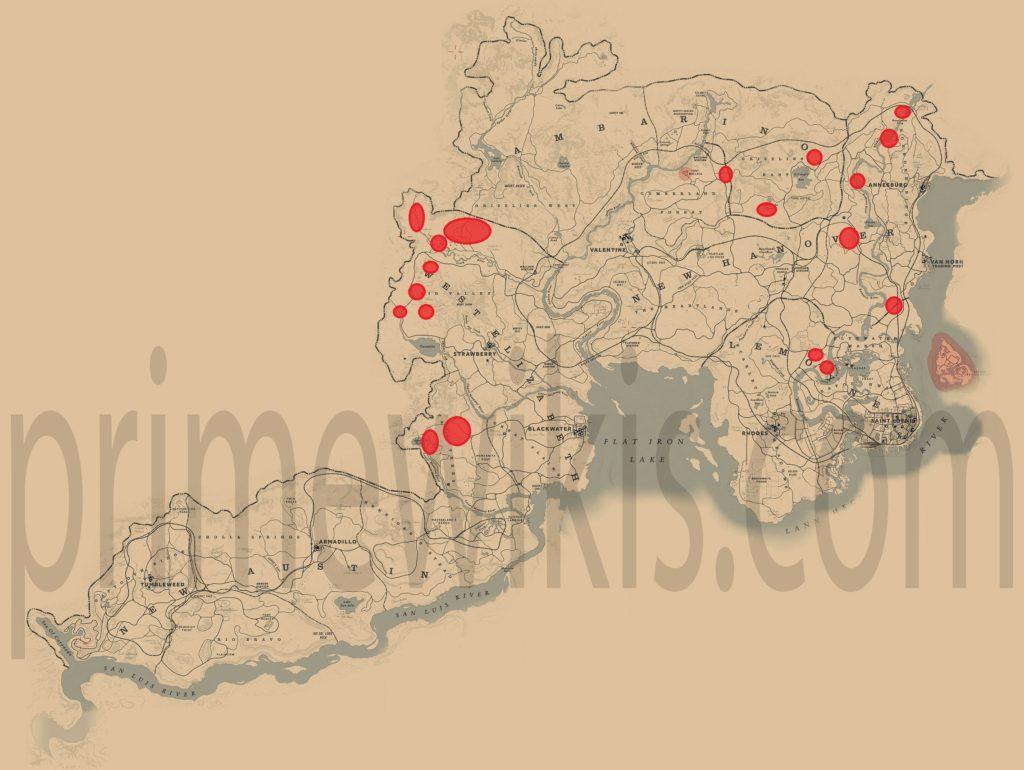 RDR2 Black Bear Location Map