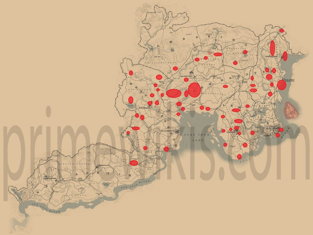 RDR2 Blue Jay Location Map