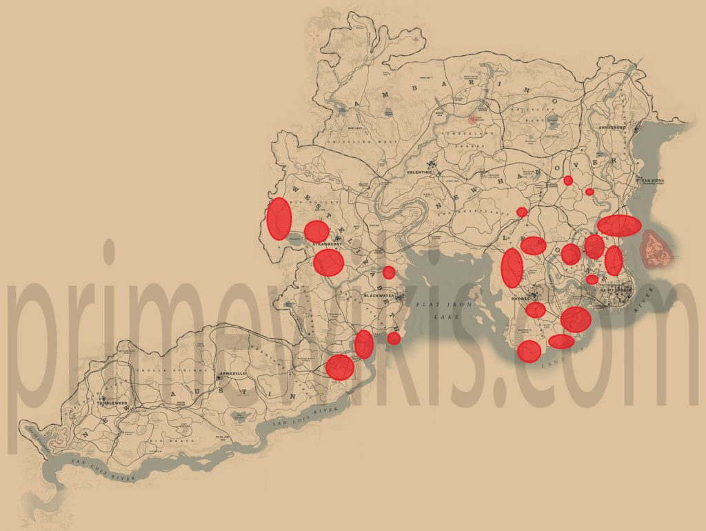 RDR2 Boar Location Map