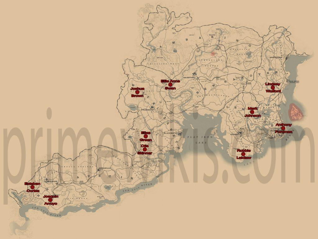 RDR2 All Bounty Hunts Locations Map