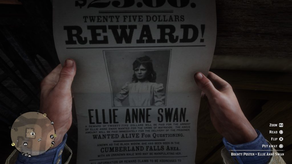RDR2 Ellie Anne Swan Wanted Poster