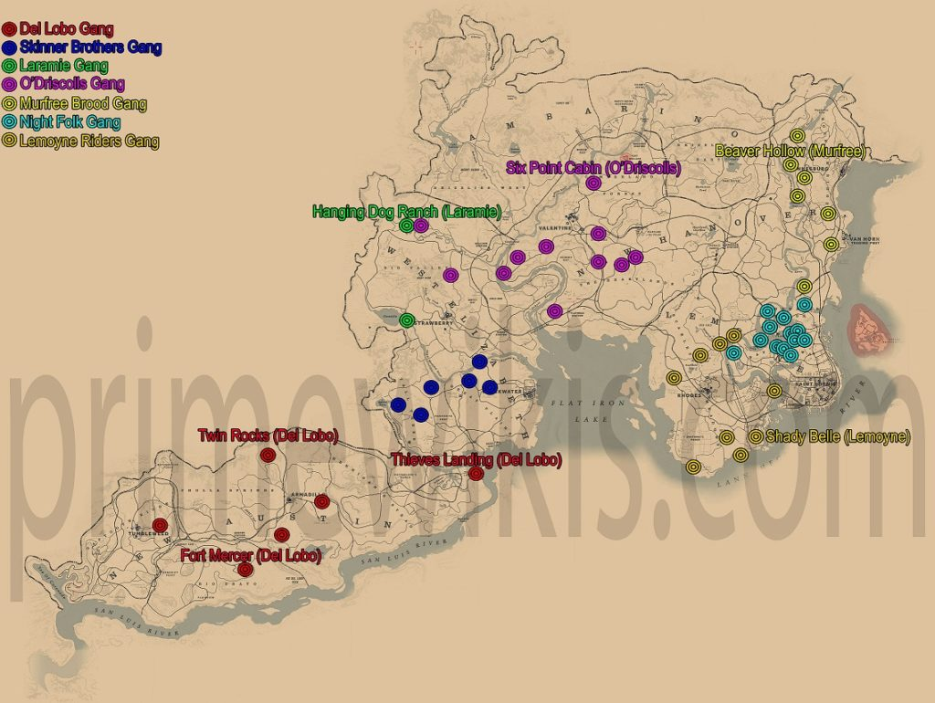 Red Dead Redemption 2 All Gangs Hideouts Locations Map