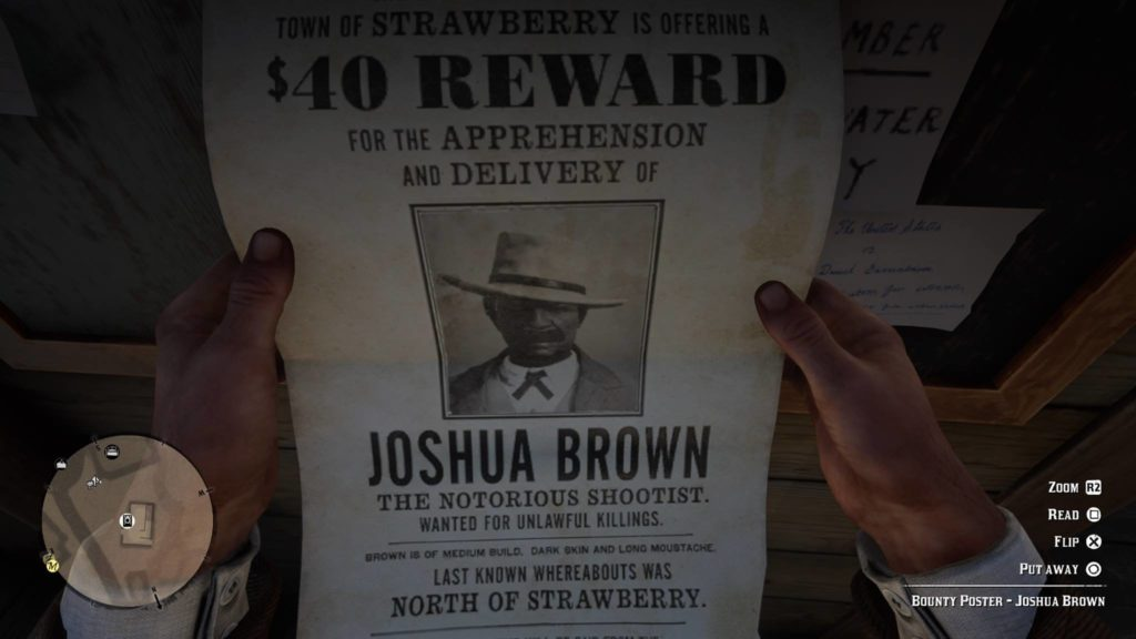 RDR2 Joshua Brown Wanted Poster