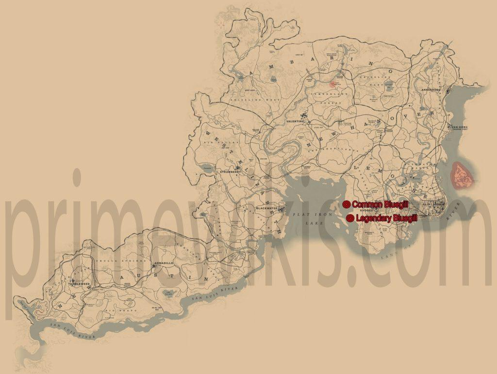 RDR2 Legendary Bluegill Location Map