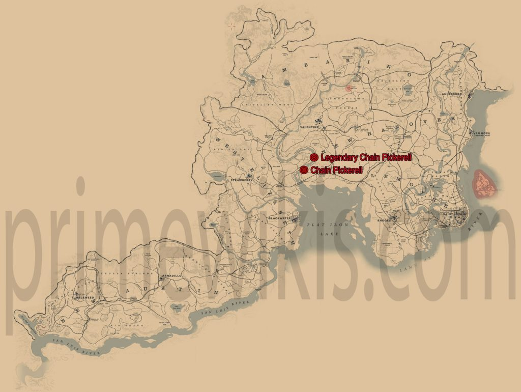 RDR2 Legendary Chain Pickerel Location Map