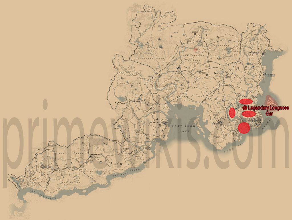 RDR2 Legendary Longnose Gar Location Map