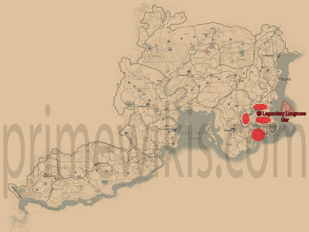 RDR2 Legendary Longnose Gar Location Map