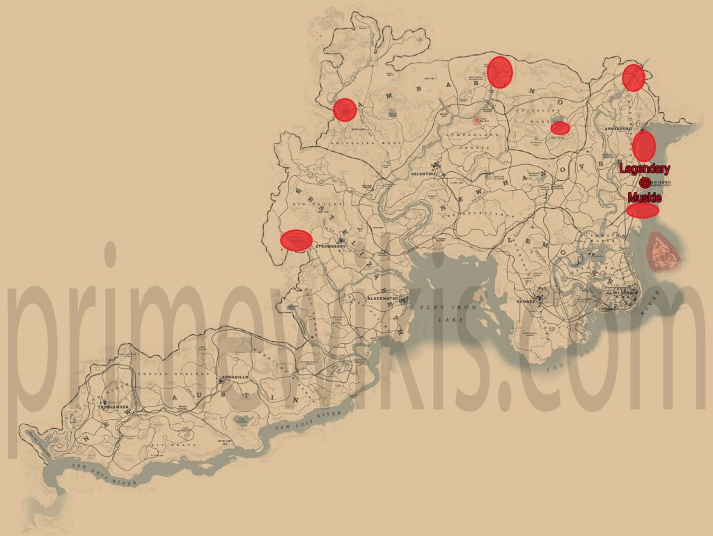 RDR2 Legendary Muskie Location Map