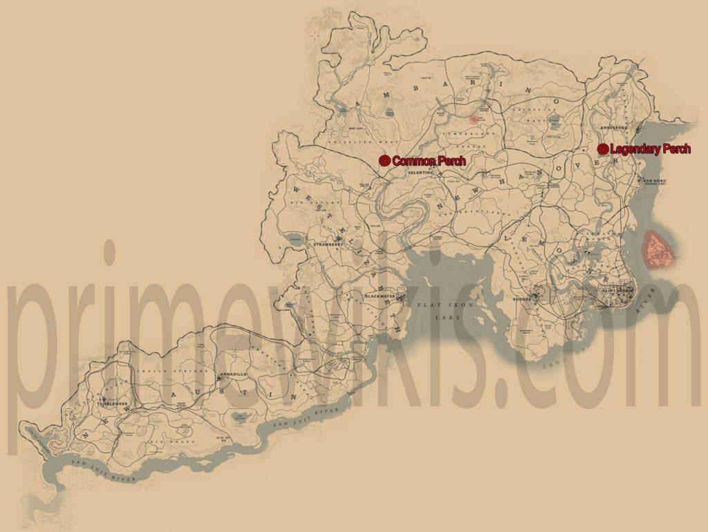 RDR2 Legendary Perch Location Map