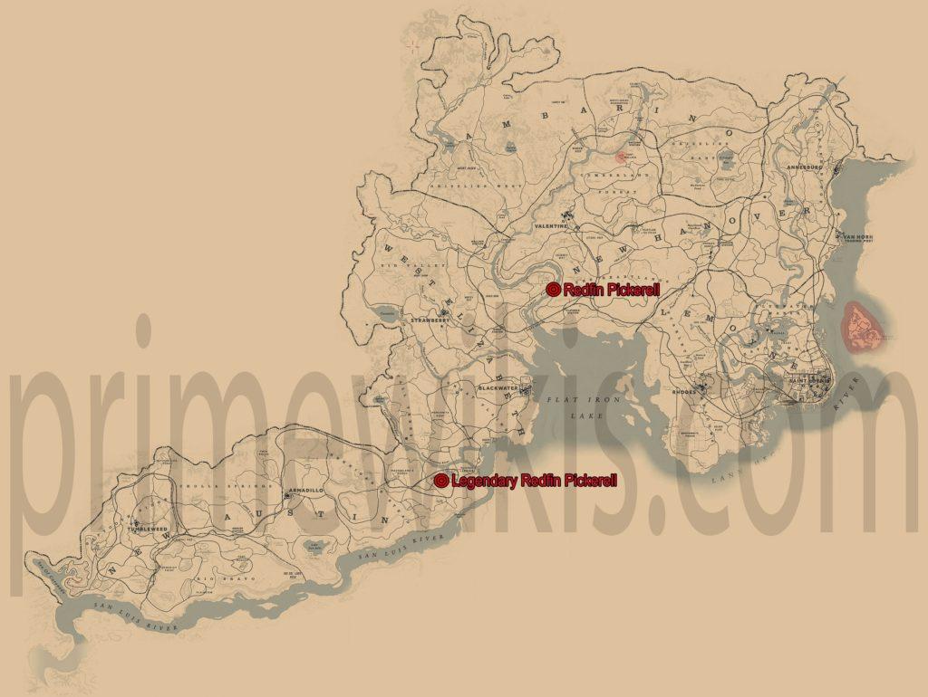 RDR2 Legendary Redfin Pickerel Location Map