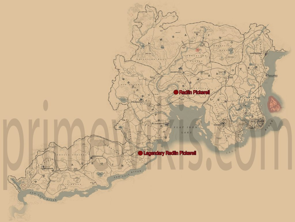 RDR2 Legendary Redfin Pickerel Location Map