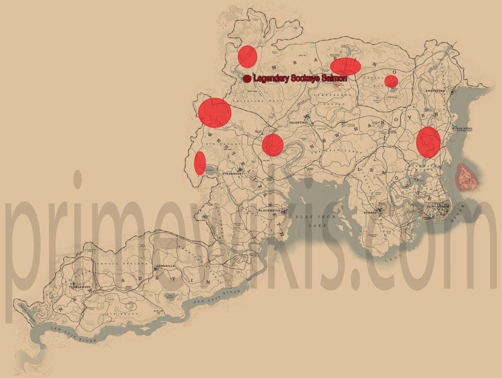 RDR2 Legendary Sockeye Salmon Location Map
