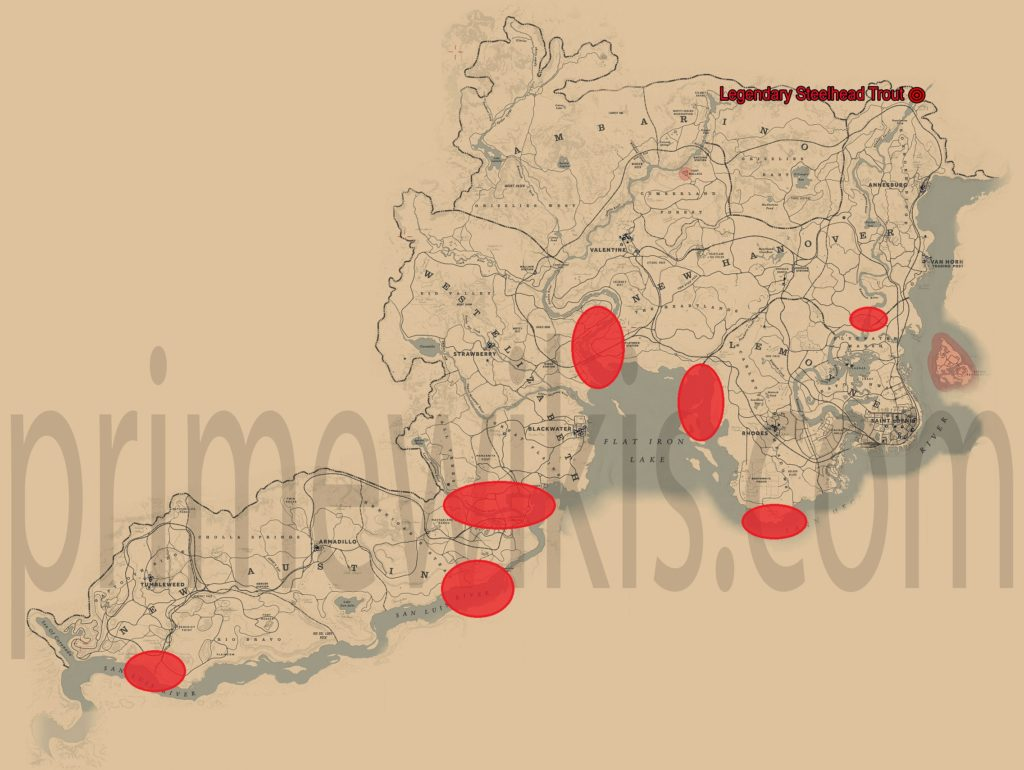 RDR2 Legendary Steelhead Trout Location Map