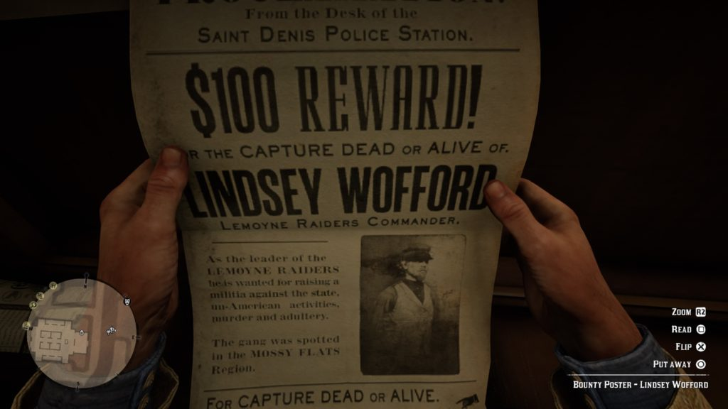RDR2 Lindsey Wofford Wanted Poster