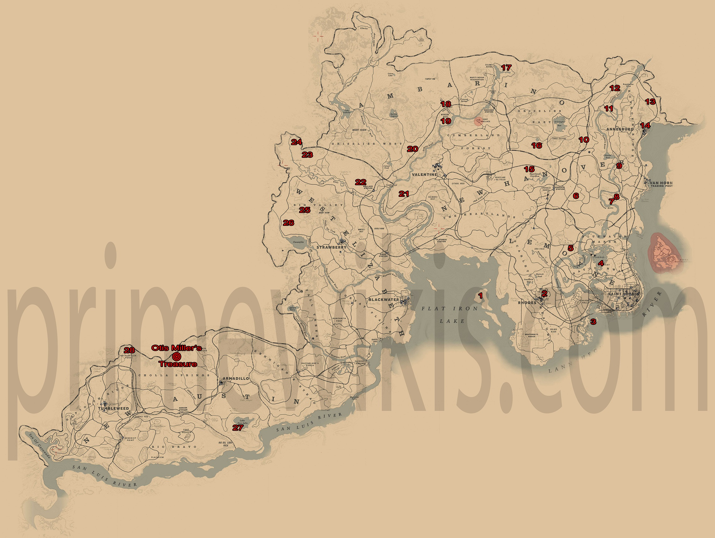 Red Dead Redemption Us Map.Unique Weapons Outfits Items Locations Red Dead Redemption 2