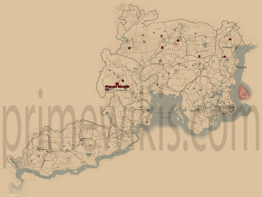 RDR2 All Rock Faces Collectibles Locations Map