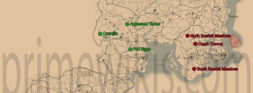 RDR2 All Coach Robberies Locations Map